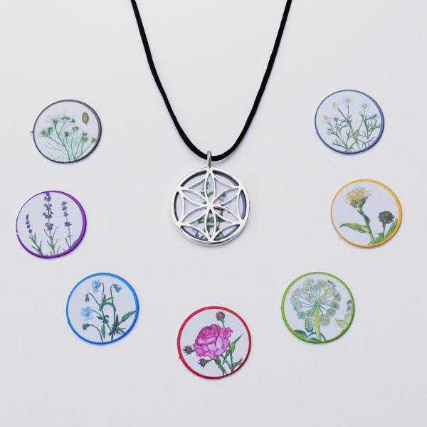 Silberanhänger mit austauschbaren Pflanzen-Token für den Anhänger